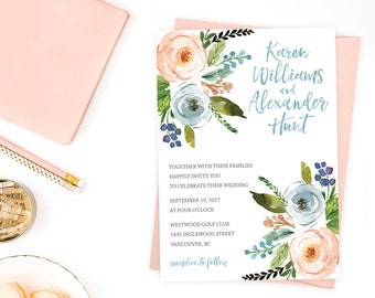 Floral Wedding Invitation, Wedding Invitation, Wedding Invitation Template, Wedding Invitation Printable, Wedding Invites Boho Chic WTRFL