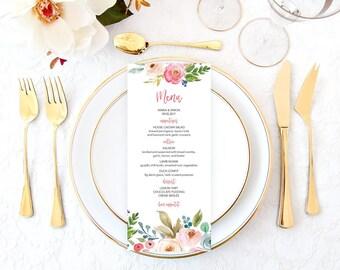 Floral Wedding Menu, Printable Wedding Menu, Wedding Menu, Rustic Wedding Menu, Bohemian Wedding Menu, Wedding Menu Cards, Boho Menu WTRTB
