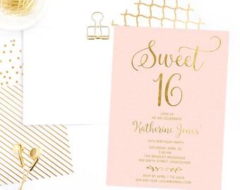 Pink Gold Sweet 16 Invitation Printable, Sweet Sixteen Invitation, 16th Girls Birthday Invitation, Faux Gold Foil Sweet 16 Birthday Invite