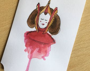 Padme Amidala Watercolour Card