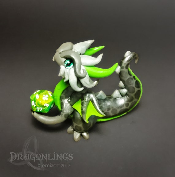 Polymer Clay Dragon Dice Holder- Gray, Lime Green, and Silver Dragonling: Dynamo