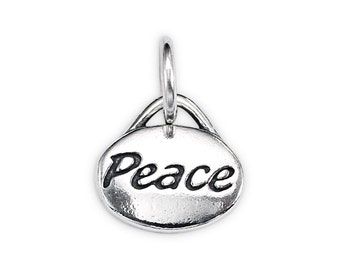 Sterling Silver Oval-Shape 'Peace' Message Charm