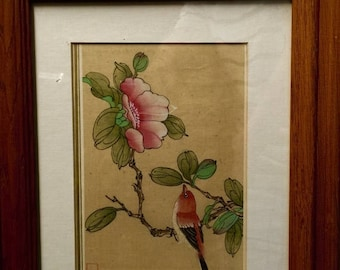 Chinese watercolor floral & bird painting on silk preserved panel unframed