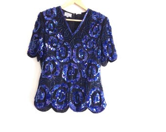 80's sequin blouse. Beaded V-neck party top with blue sequins, scalloped sleeve and hem.
