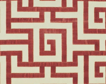 CLARENCE HOUSE LABYRINTH Geometric Silk Cut Velvet Fabric 10 Yards Coral