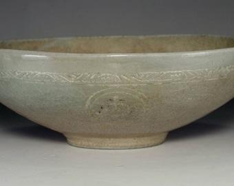 Antique Korean Inlaid Celadon Pottery Bowl #2541