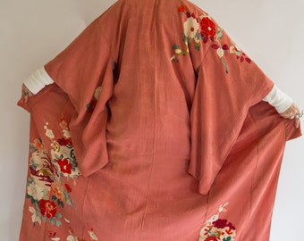 Vintage 1930's Silk Rose Colored Kimono, One Size