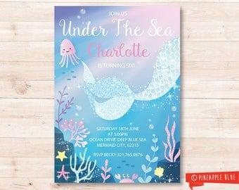 Mermaid party invitation | Girls invitation | Birthday party invite | Custom party invite | Kids birthday invitation printable |  Swim party