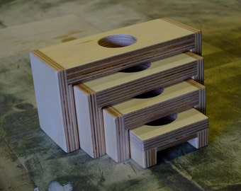 Birch Plywood Candle Holder.  Four-Tiered