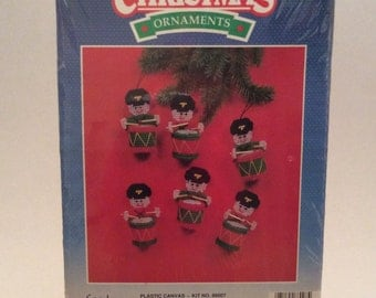 Vintage Plastic Canvas Drummer Boys Christmas Ornaments, Good Shepherd Julia Bernstein Needlework Kit, New Old Stock