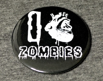 I love zombies 58mm badge - zombie badge - zombie badges - zombie pin button - large pin button - horror pin buttons - horror badge