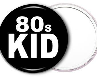 80s kid makeup mirror - 80s kid pocket mirror - retro mirror - nostalgia gifts - gift idea - makeup mirror - two colours available - mirror