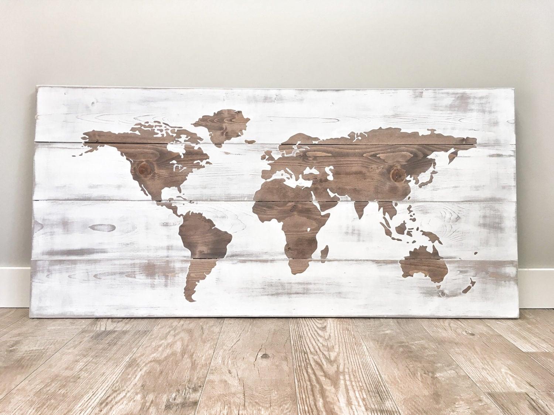 Rustic Wood World Map, Rustic Decor, Farmhouse Decor