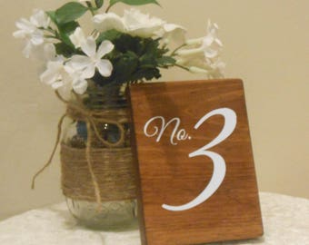 Sets of double sided table numbers,wood wedding table numbers, double sided table numbers, rustic table number,
