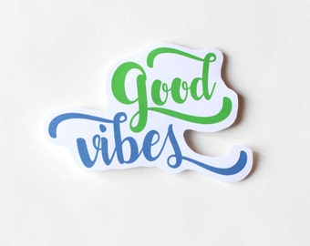 Good Vibes sticker, Fun Cute Positive Laptop Sticker, Typography Illustration