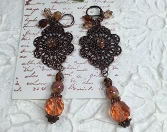 Crystal Peach  Earrings- Dangle Lace Medallions Earrings-Dangle Tear Drop Earrings-Antique Copper Earrings-Handmade Earrings-Beaded Earrings