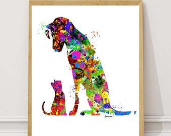 Dog and Cat  Watercolor Art Print Wall Decor Home Decor  Instant Download Printable Digital Dog Art Cat Art Dog and Cat love animal art