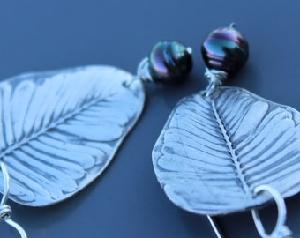 Hawaiian Baby Palm Silver and Tahitian Pearl Earrings