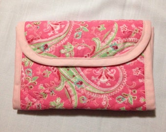 Pink Paisley Quilted Ladies Wallet