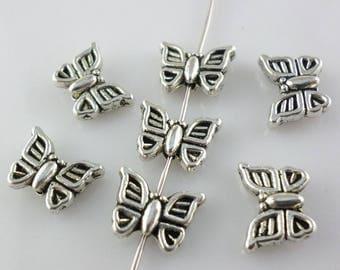 40/300pcs Tibetan Silver Butterfly Spacer Beads 8.5x11mm