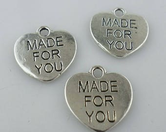 10/40/300pcs Ancient Silver MADE FOR YOU Heart Charms Crafts Pendant