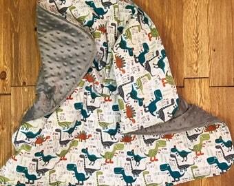 Dinosaur/T-Rex Baby Blanket - Stroller Blanket - Baby Shower - Minky Blanket - Baby Gift - Toddler Blanket