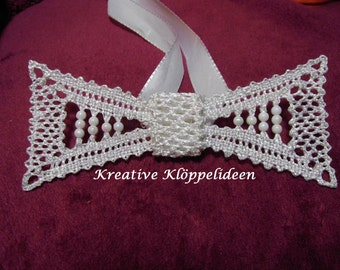 Handmade bobbin lace bow tie for the groom