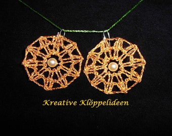Handmade bobbin lace earrings around gold