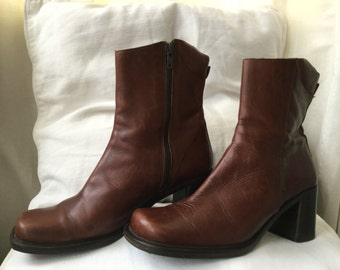 Rich brown leather ankle boots - EU 38 - by Shellys of London - UK 5