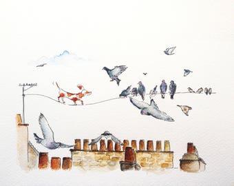 Rooftop, illustration - original drawing