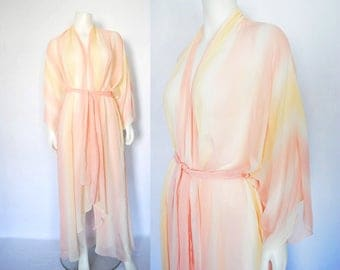 1970s sheer robe, vintage baby pink duster -- floor length, powder pink, soft, asymmetrical, high-low, airy, chiffon, striped, sheer kimono
