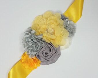 Yellow and Gray Floral Sash, Maternity Sash, Bridal Sash, Bridesmaid Sash, Flower girl sash, Photo prop