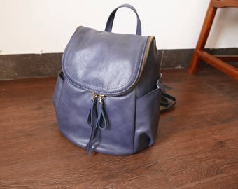 Leisure Real  Leather Backpack Fit Ipad Tablet In Blue
