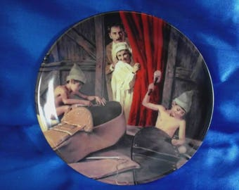 Grimms Fairy Tales German Collectors Plate 'The Shoemaker and the Elves' by Charles Gehm