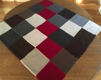 Upcycled cashmere baby blanket.  Sweet cashmere toddler blanket. Sock monkey, brown, red and grey felted cashmere blanket.