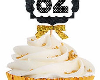 82nd Birthday / Gold Ribbon with Polka Dot Numbers Cupcake Picks / Toppers -12ct.