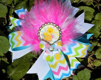 Easter Hair Bow, Easter Hairbow, Easter Bow, Over the Top Bow, Stacked Hairbow, Hairbow with Feathers, Easter Gift, Girls Easter basket gift