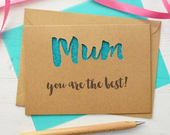 Personalised Mum Glitter Cut Out Card - Mother's Day Card - Card for Mum - Mum Birthday Card - Mummy Card