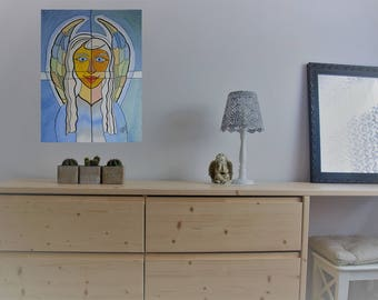 Original modern acrylic painting on canvas abstract angel