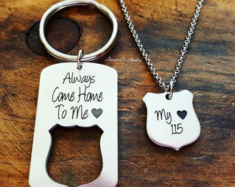 Be Safe Gift, Always Come Home To Me Police Keychain, Badge Necklace, Police Officer Gifts, Police Officer/Wife Set, Blue Lives Matter
