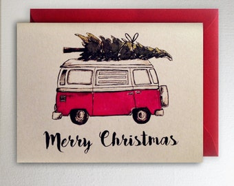 Merry Christmas VW Van Christmas Tree Card Volkswagon