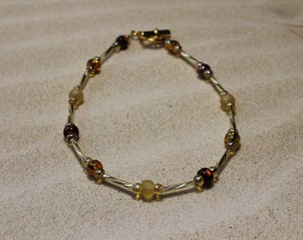 Anklet, Ankle Bracelet, Gold and Amber Glass Beads