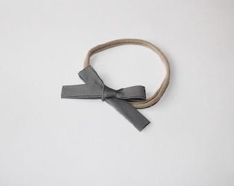 Gray Hand-Tied Bow