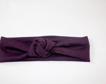 Plum Top Knot, Purple Turban Headband