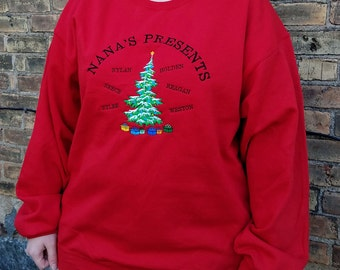 Grandma's Presents Personalized Sweatshirt - Embroidered Christmas Tree With Names