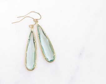 MACIE | Stone Teardrop Earrings | Sea Green Glass Teardrop Earrings | Sea Green + Gold Teardrop Earrings | Bridesmaid Earrings | Sea Green