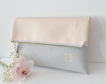 Cream and light grey personalized clutches, Monogrammed clutch bag, Wedding clutch purse, Bridal purse