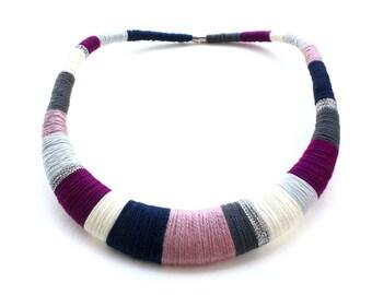 Purple necklace, silver necklace, dark blue necklace,  crochet necklace, multicolor necklaces, fashion necklace, textile jewelry, bohemian