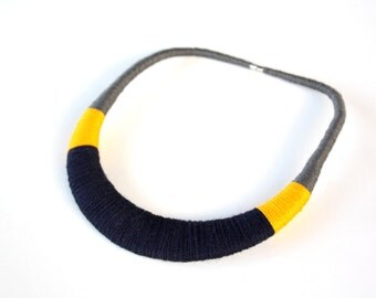 Yellow necklace, Yellow and blue, Dark blue necklace, statement necklace, tribal necklace, textile necklace, gift for her, crochet necklace