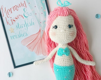 mermaid crochet pattern, crochet mermaid, mermaid doll, mermaid toy, amigurumi, mermaid pattern